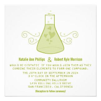 El boda dulce verde de la química invita comunicado personal