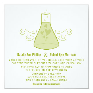 """El boda dulce verde de la química invita invitación 5.25"""" x 5.25"""""""
