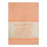 El boda elegante anaranjado de Chevron invita Invitación 12,7 X 17,8 Cm