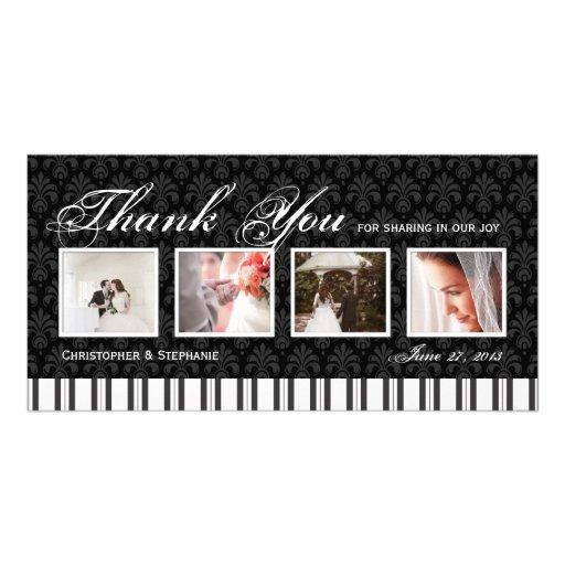 El boda elegante de 4 fotos le agradece tarjeta de tarjeta personal con foto