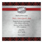 El boda elegante de color rojo oscuro y de plata invitación 13,3 cm x 13,3cm