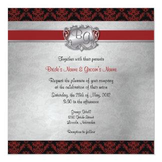 """El boda elegante de color rojo oscuro y de plata invitación 5.25"""" x 5.25"""""""