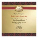 El boda elegante de color rojo oscuro y del oro in