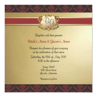 El boda elegante de color rojo oscuro y del oro anuncio personalizado