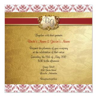 """El boda elegante de color rojo oscuro y del oro invitación 5.25"""" x 5.25"""""""