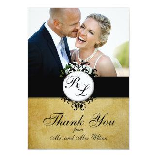 """El boda elegante de la foto del monograma del invitación 5"""" x 7"""""""
