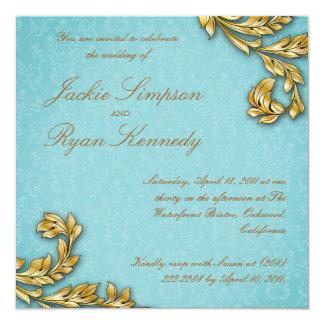 El boda elegante de la hoja de oro invita al azul invitación 13,3 cm x 13,3cm