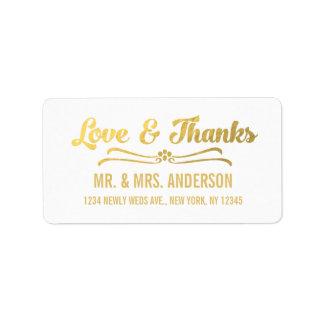 El boda elegante de la hoja de oro le agradece etiquetas de dirección
