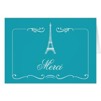 El boda elegante de la torre Eiffel le agradece ca Tarjeta Pequeña