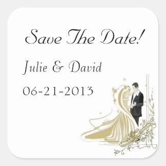 El boda elegante del blanco y del oro ahorra la pegatina cuadrada