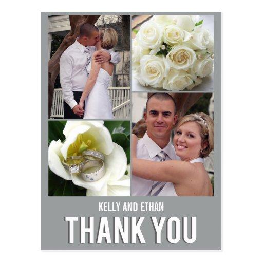 El boda elegante del collage le agradece postal