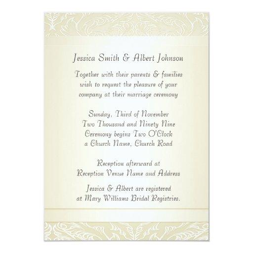 """El boda elegante del damasco del color crema de invitación 4.5"""" x 6.25"""""""