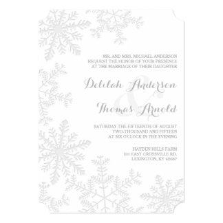 """El boda elegante del invierno de los copos de invitación 5"""" x 7"""""""
