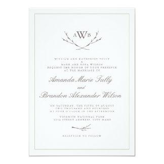 """El boda elegante del monograma del bosque invita invitación 5"""" x 7"""""""