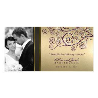 El boda elegante del oro de los espirales de la tarjetas personales