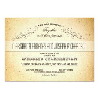 """el boda elegante del vintage del diseño de la invitación 5"""" x 7"""""""