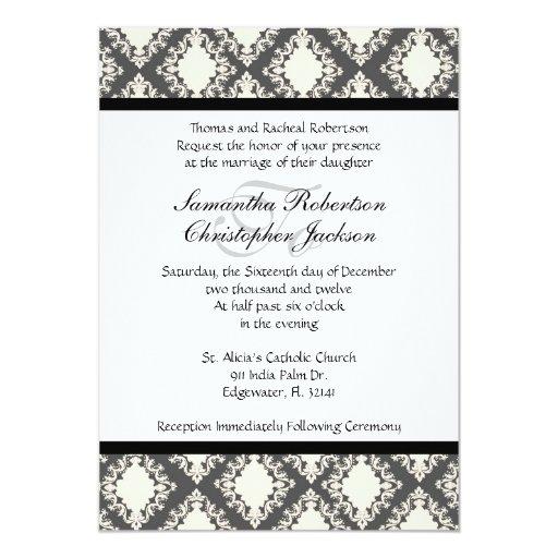"""El boda elegante del vintage invita invitación 5"""" x 7"""""""