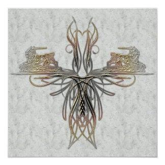 El boda elegante grabado en relieve falsa hoja del invitación 13,3 cm x 13,3cm