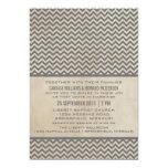 El boda elegante gris de Chevron invita Invitación 12,7 X 17,8 Cm
