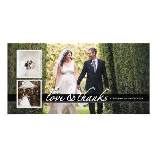 El boda elegante intemporal le agradece tarjeta de plantilla para tarjeta de foto