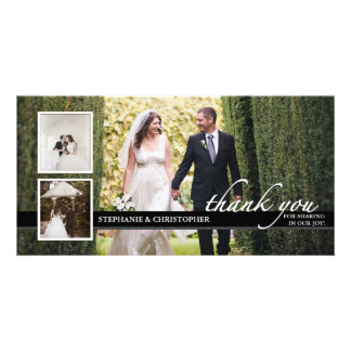El boda elegante intemporal le agradece tarjeta de tarjeta personal con foto