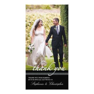 El boda elegante intemporal le agradece tarjeta de tarjetas fotográficas