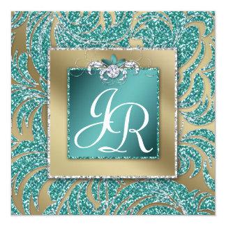 El boda elegante invita a la chispa floral del invitación 13,3 cm x 13,3cm
