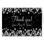 El boda elegante le agradece negro de la chispa tarjeta de felicitación