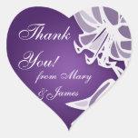 """El boda elegante """"le agradece"""" ramo púrpura del colcomanias de corazon"""