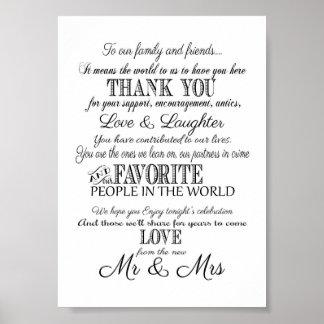 El boda elegante negro y blanco le agradece firmar póster
