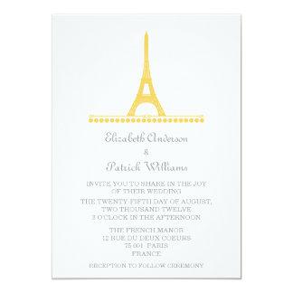 """El boda elegante parisiense invita, amarillea invitación 5"""" x 7"""""""