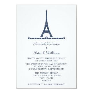 """El boda elegante parisiense invita, azul invitación 5"""" x 7"""""""