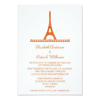 """El boda elegante parisiense invita, naranja invitación 5"""" x 7"""""""