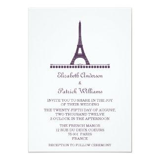 """El boda elegante parisiense invita, púrpura invitación 5"""" x 7"""""""