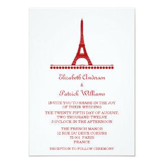 """El boda elegante parisiense invita, rojo invitación 5"""" x 7"""""""
