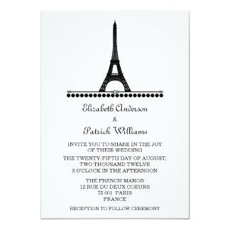 """El boda elegante parisiense invita, se ennegrece invitación 5"""" x 7"""""""