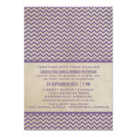 El boda elegante púrpura de Chevron invita Invitación 12,7 X 17,8 Cm
