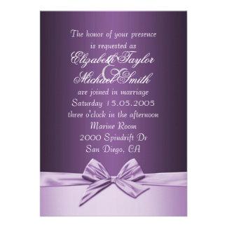 El boda elegante púrpura de lujo de la cinta invit