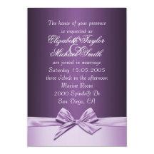 """El boda elegante púrpura de lujo de la cinta invitación 5"""" x 7"""""""