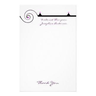 El boda elegante púrpura y negro le agradece  papeleria