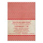 El boda elegante rojo de Chevron invita Invitación 12,7 X 17,8 Cm