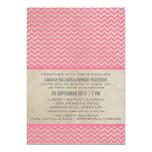 El boda elegante rosado de Chevron invita Invitación 12,7 X 17,8 Cm