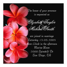 """El boda elegante rosado de lujo del Plumeria Invitación 5.25"""" X 5.25"""""""