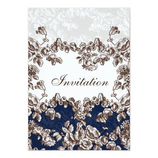 """el boda elegante subió cabaña de los """"azules invitación 5"""" x 7"""""""