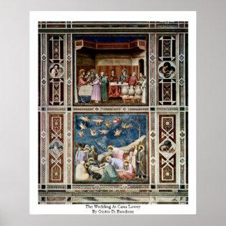 El boda en Cana baja por Giotto Di Bondone Impresiones