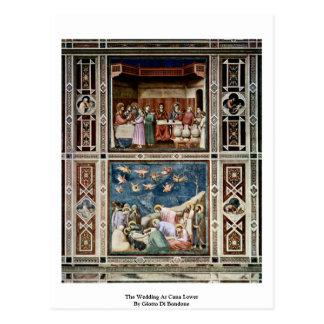 El boda en Cana baja por Giotto Di Bondone Tarjeta Postal