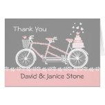 El boda en tándem de la bicicleta le agradece card tarjeta