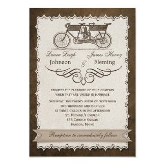 El boda en tándem del siglo XIX de la bicicleta Invitación 12,7 X 17,8 Cm