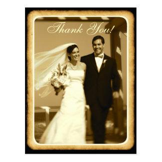 El boda entonado sepia del vintage le agradece las tarjetas postales