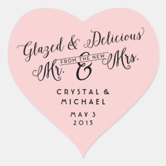 El boda esmaltado y delicioso le agradece los pegatina en forma de corazón